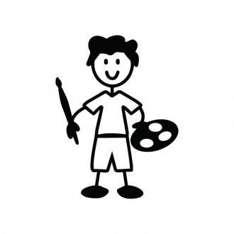 Bambino pittore - adesivi famiglia