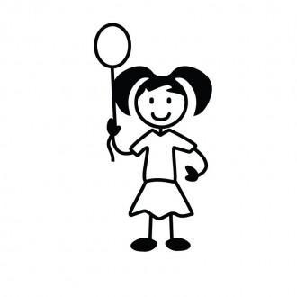 Bimba con palloncino - adesivi famiglia