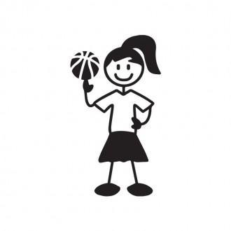 Ragazza basket - adesivi famiglia