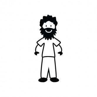 Papà con barba - Famiglia adesiva