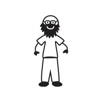 Papà pelato con occhiali e barba - Family Stickers
