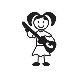 Bimba con chitarra - adesivi famiglia