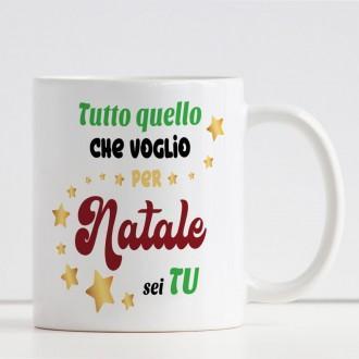 """Tazza Natalizia """"Tutto quello che voglio a Natale sei tu"""" ed i due nomi"""