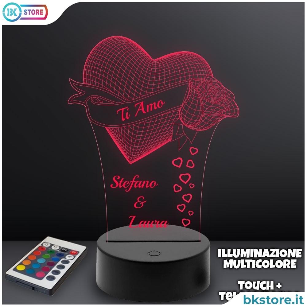 Lampada plexiglass ti amo personalizzata con nomi