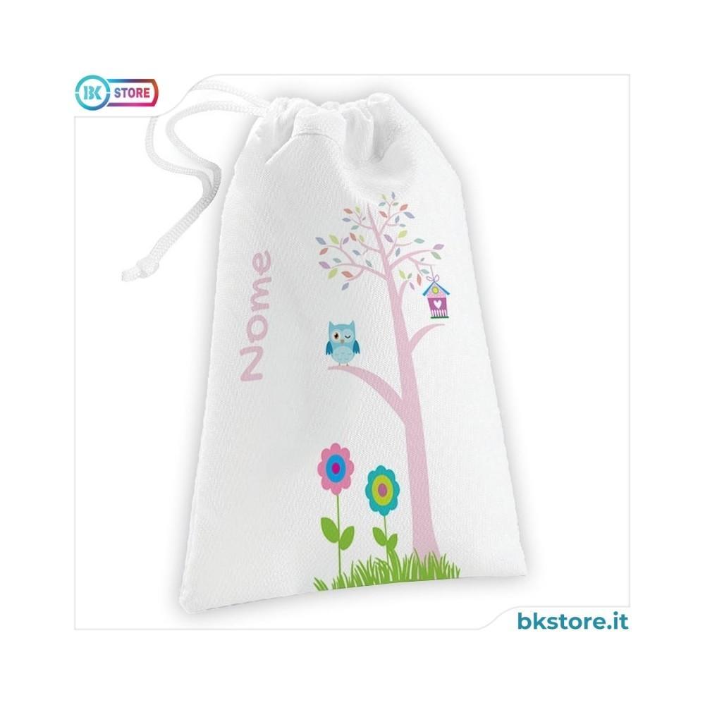 Sacca per bavaglini personalizzata con albero e gufo