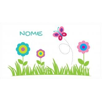 Borraccia da bambini disegno farfallina e fiori con nome