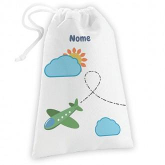 Sacca per bavaglini personalizzata con aeroplanino, nuvolette e nome