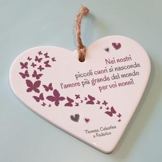 cuore ceramica regalo nonni