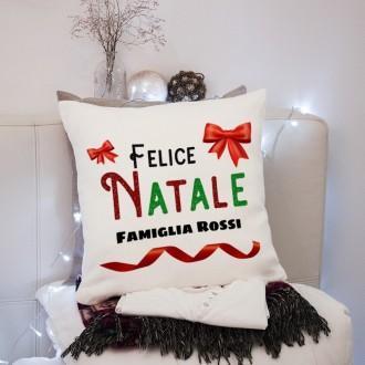 Cuscino Felice Natale e cognome della famiglia regalo di Natale personalizzato
