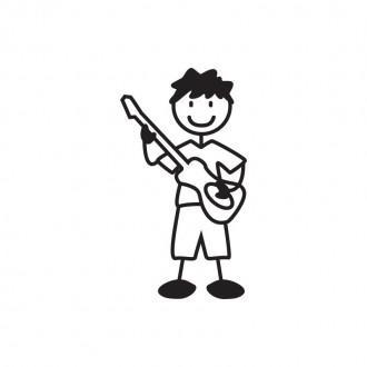 Bimbo musicista con chitarra - adesivi famiglia