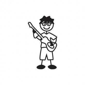 Bimbo musicista con occhiali e chitarra - adesivi famiglia