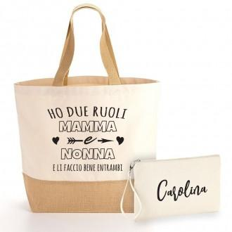 borsa shopper nonna personalizzata e pochette