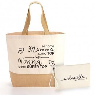 borsa shopper pochette personalizzata nonna top
