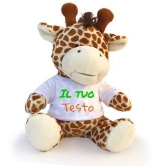 Giraffa peluche personalizzata con foto o scritta sulla maglietta