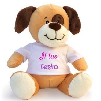 Cane peluche personalizzato con foto o scritta sulla maglietta