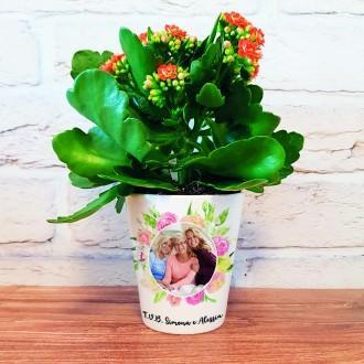 vaso ceramica fiori personalizzato foto e nome