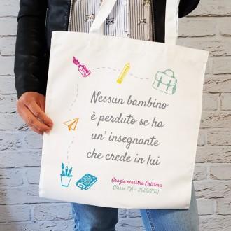 borsa shopper personalizzata maestra