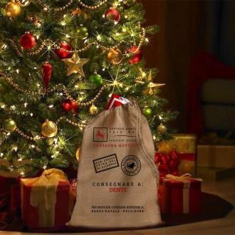 Sacca per i regali di Babbo Natale personalizzata con nome