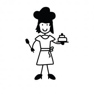 Mamma cuoca con torta - adesivi famiglia